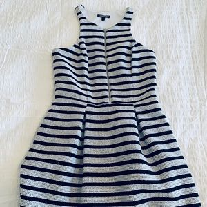 Tweed, black and white striped dress with pockets